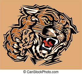 cougar mascot - stylized tribal cougar mascot head for...