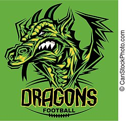 dragons football team design with mascot head for school,...