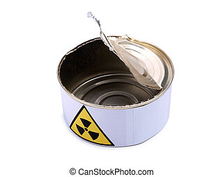 Tin with radiation sign five - Tin with a radiation sign on...