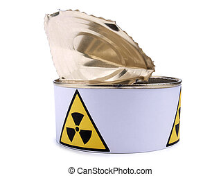 Tin with radiation sign nine - Tin with a radiation sign on...