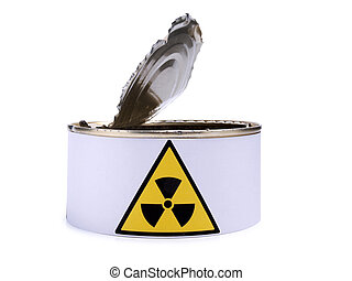Tin with radiation sign two - Tin with a radiation sign on...