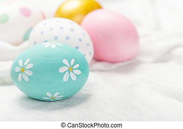 Easter background with eggs and copyspace. Happy Easter!