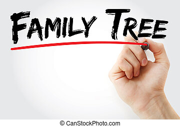 Hand writing Family tree with marker, concept background