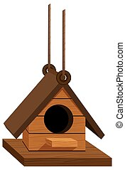 Birdhouse hanging with rope