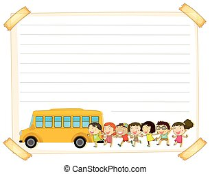 Paper template with kids and schoolbus illustration