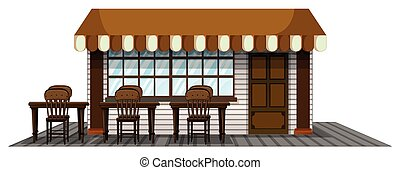 Coffee shope with dining seats outside illustration