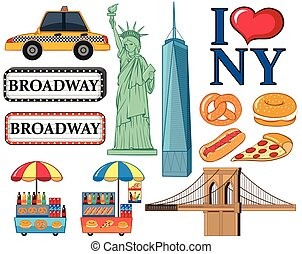 Travel icons for New York city