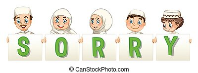 Muslim family holding word for sorry illustration