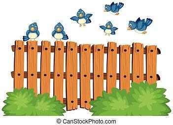 Blue birds flying over wooden fence illustration