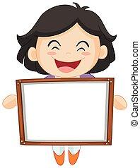Happy girl holding white board illustration