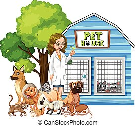 Vet and sick animals at pet house