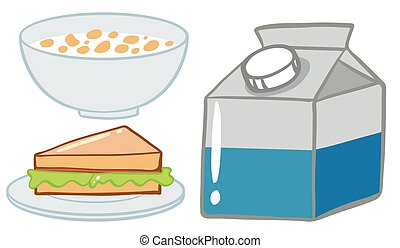 Breakfast set with cereal and milk