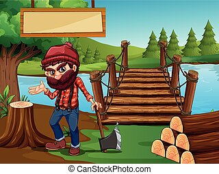 Lumber Jack chopping wood in forest illustration