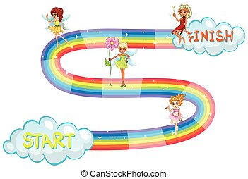 Game template with fairies flying on rainbow illustration