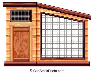 Empty chicken coop on white background illustration
