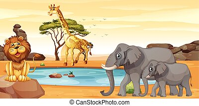 Wild animals by the waterhole
