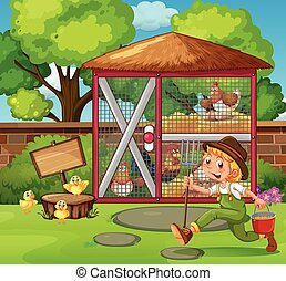 Farmer feeding chickens in the coop illustration