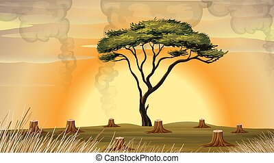 Deforestation scene with smoke in the field illustration