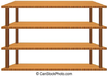 Wooden shelves on white background illustration