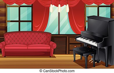 Room with red sofa and piano