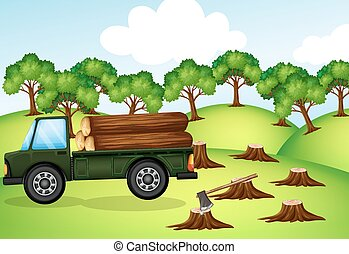 Deforestation scene with truck loaded with logs illustration