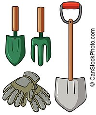 Gardening tools with gloves illustration