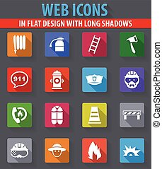 Fire brigade icons set - Fire brigade web icons in flat...