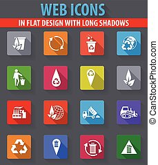 Garbage icons set - Garbage web icons in flat design with...