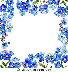 Wildflower myosotis arvensis flower frame in a watercolor...