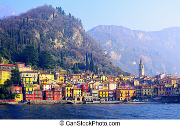 Varenna town on Lake Como, Lombardy, Italy - Colorful houses...