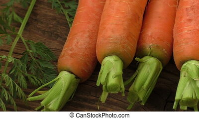 Fresh organic carrots with green tops