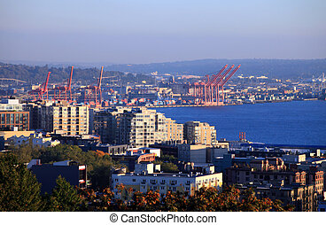 Port of Seattle Washington. - A view of the port of Seattle...