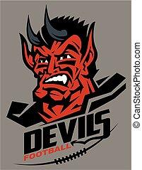 devils football mascot head team design for school, college...