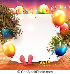 Beach party - Summer beach party background with empty paper...