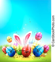 Easter background - Easter greeting card with colorful eggs...