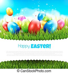Easter greeting card with colorful eggs in the grass and...