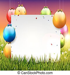 Easter background with colorful eggs and empty paper