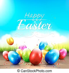 Easter greeting card with colorful eggs in the grass