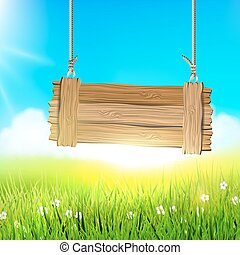 Spring meadow with wooden sign