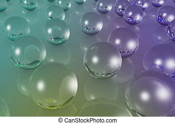 crystal material of ball reflection color - 3d illustration...