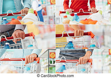 People shopping at the supermarket - People doing grocery...