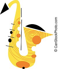 Saxophone Musical Instrument - Vector Illustration of a...