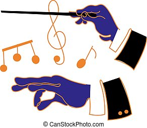 Music Conductor Hands - A cartoon style illustration of a...
