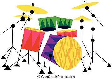 Drum Kit Musical Instrument - Vector Illustration of a...