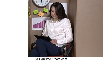 Small office interior design business woman working with documents in a cardboard box