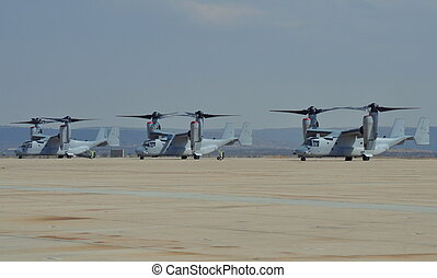 USMC MV-22 Osprey Aircraft - USMC MV-22 Osprey parked on the...