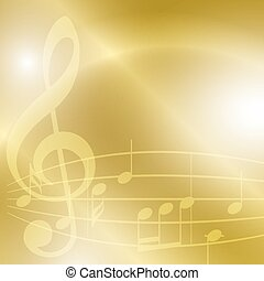 golden music background with notes and lights - vector