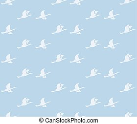blue vector background with birds - light seamless pattern