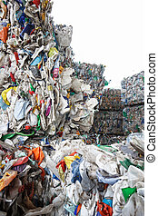Pile of sorted plastic waste, prepared for recycling. Waste...