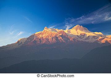 Mounts Annapurna II and IV at Dusk, Nepal - Image of Mounts...